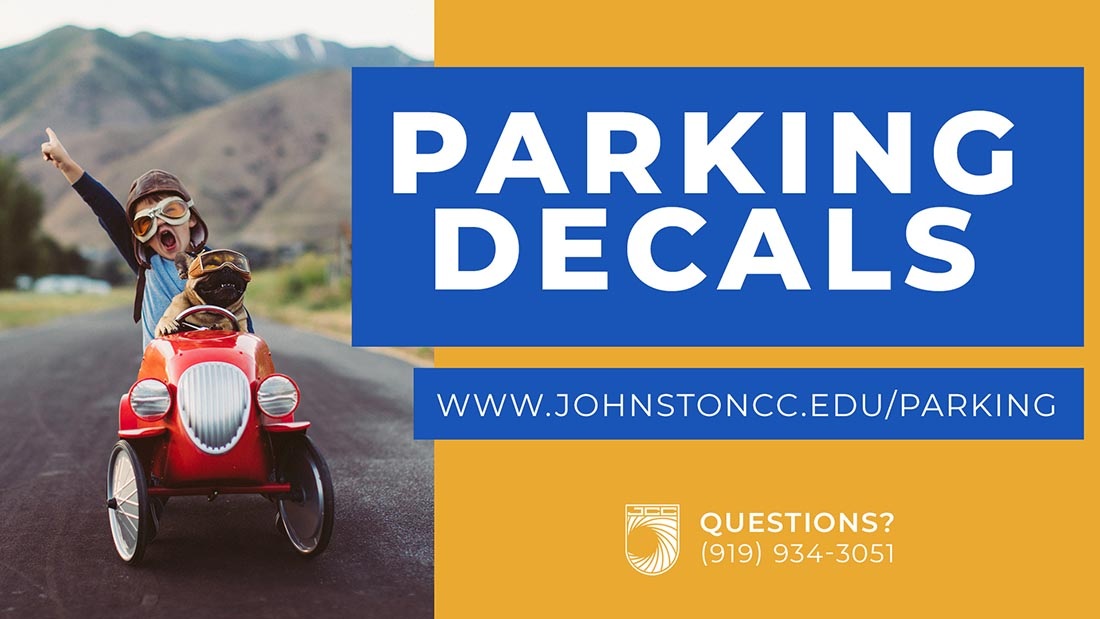 Parking Decals. Boy holding dog on vintage car. Visit www.johnstoncc.edu/parking. Questions? Call (919) 934-3051