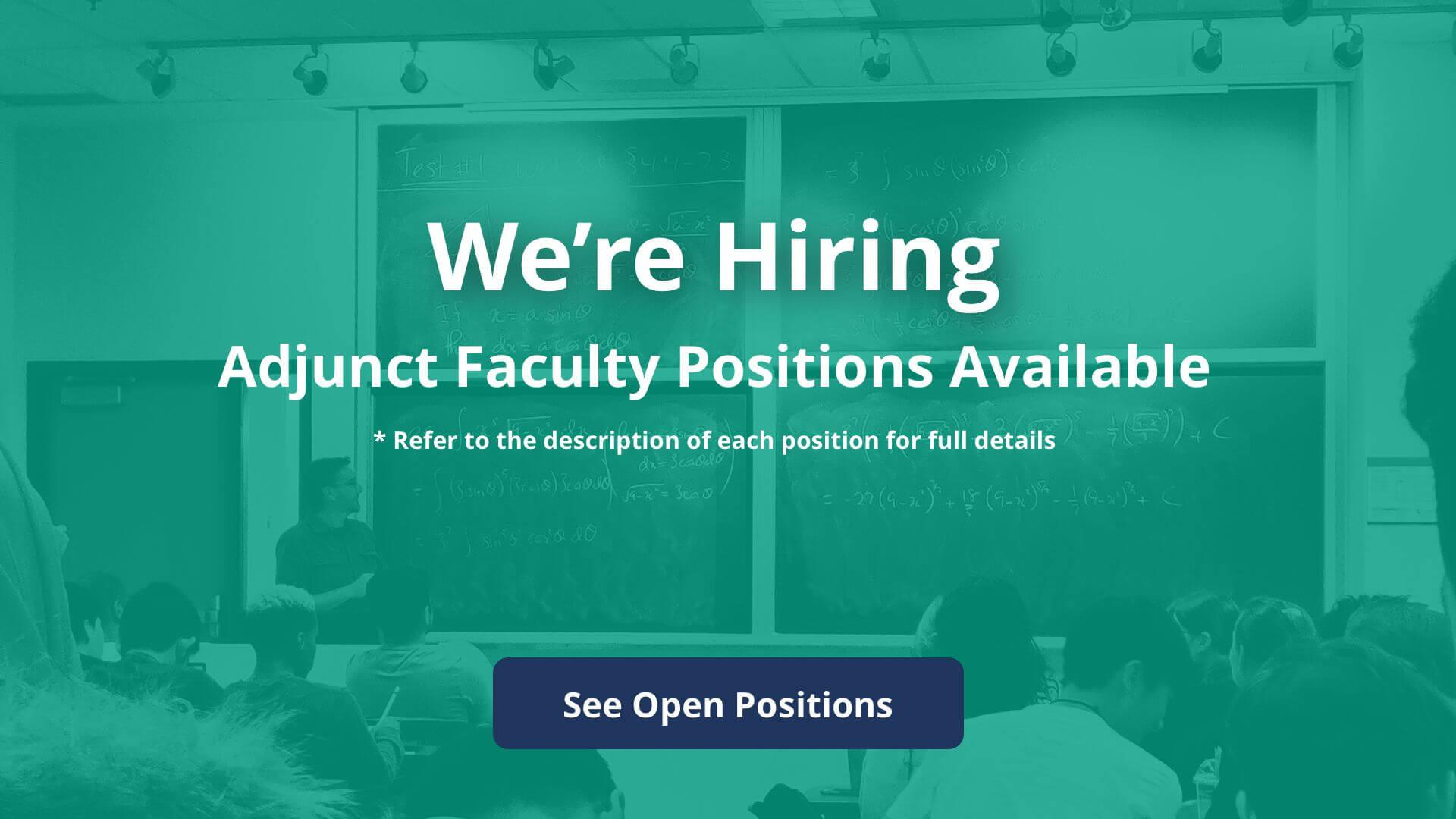 Adjunct Positions at JCC. JCC is hiring adjunct faculty positions.