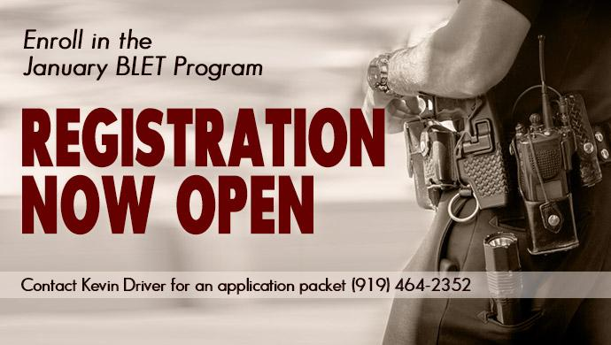 Enroll in the January BLET Program. Registration Now Open. Contact Kevin Driver for an application packet (919) 464-2352.