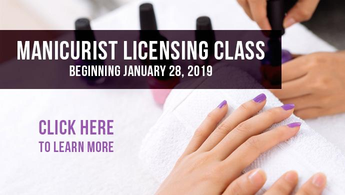 Image of a person painting another person's finger nails.  Manicurist Licensing Class. Beginning January 28, 2019. Click here to learn more.