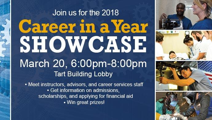Join us for the 2018 Career in a Year Showcase March 20, 6:00pm-8:00pm, Tart Building Lobby. Meet instructors, advisors, and career services staff. Get information on admissions, scholarships, and applying for financial aid. Win great prizes!