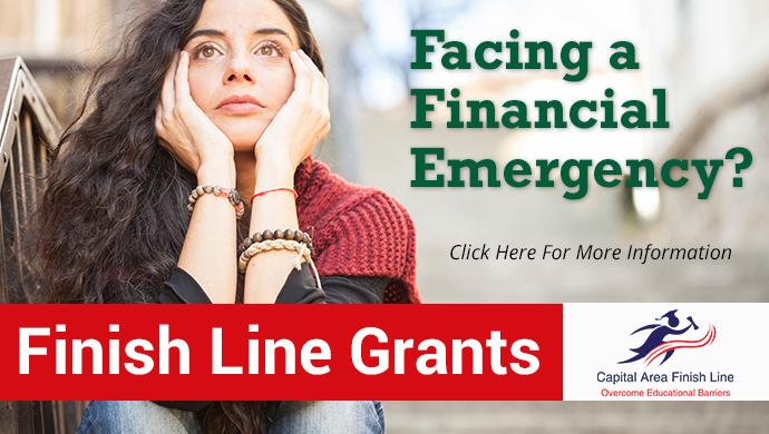 Facing a financial emergency?  Click here to learn more about the Finish Line Grants to help you complete your college education.