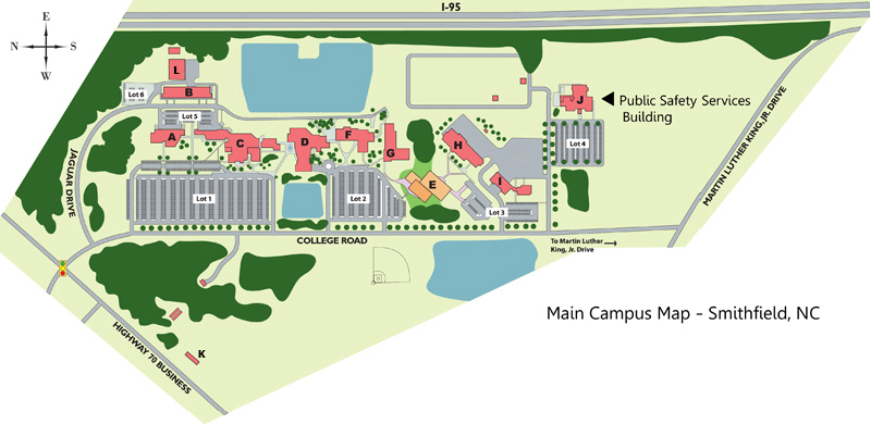 Johnston Community College Main Campus Map - Smithfield, NC: proximity to Interstate - 95; Highway 70 Business; College Road; Jaguar Drive; and Martin Luther King, Jr. Drive