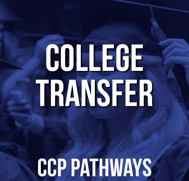 College Transfer Pathway Graphic - Student Turning Tassel