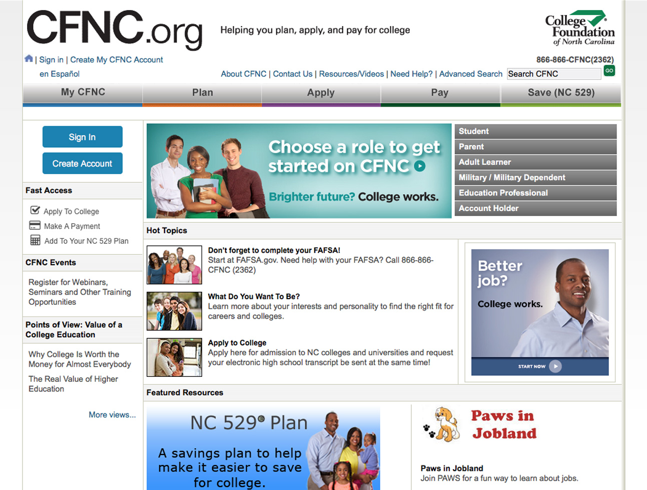 Screenshot of College Foundation of North Carolina Website