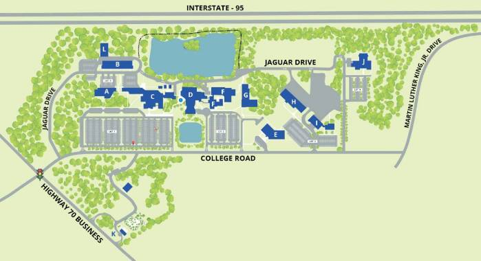 Campus Map of Johnston Community College: proximity to Interstate - 95; Highway 70 Business; College Road; Jaguar Drive; and Martin Luther King, Jr. Drive