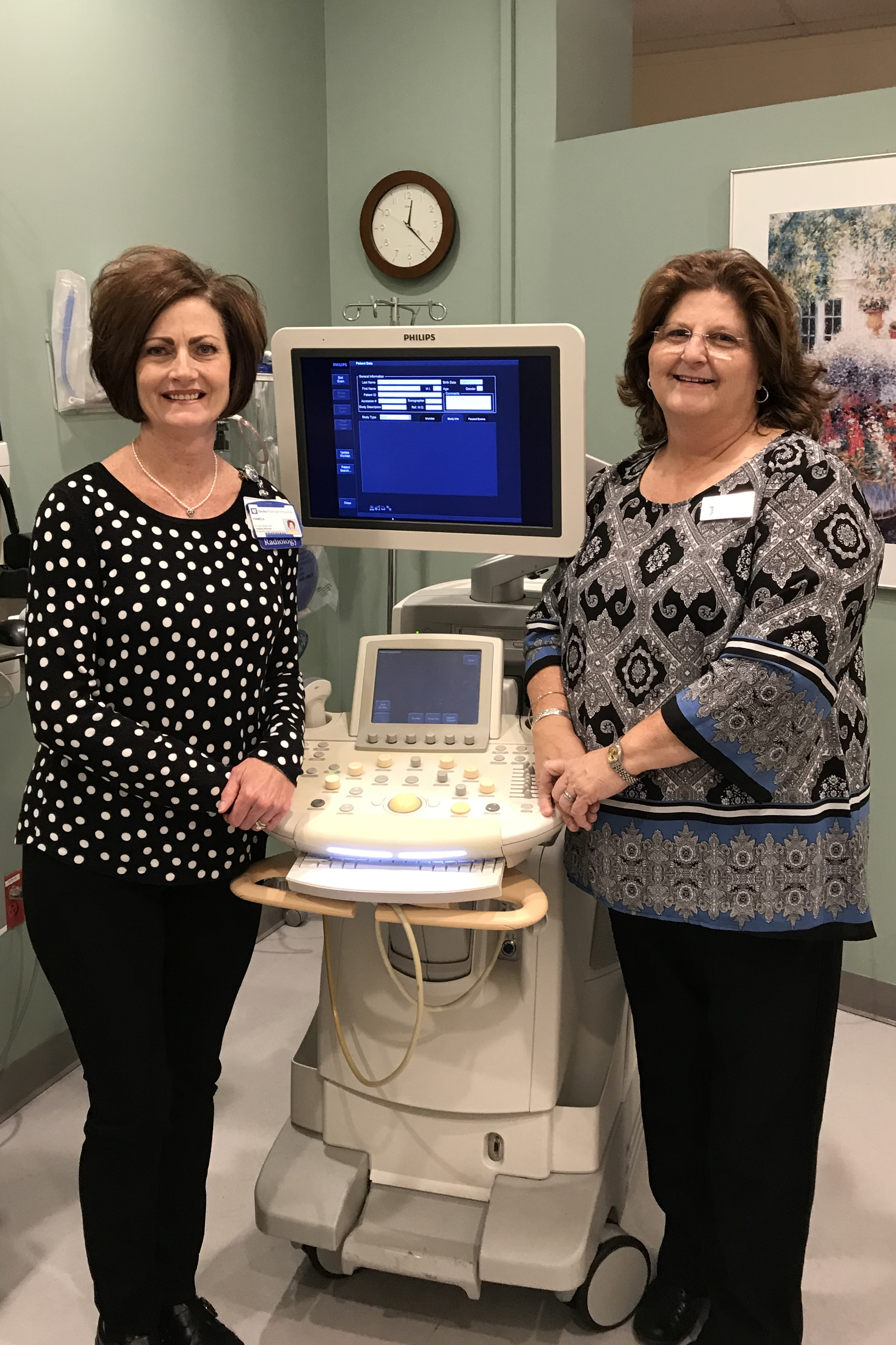 Pamela Yahraes, department manager at Duke Raleigh Hospital Ultrasound Center, is pictured with Cathy Godwin, program director of sonography programs at JCC.