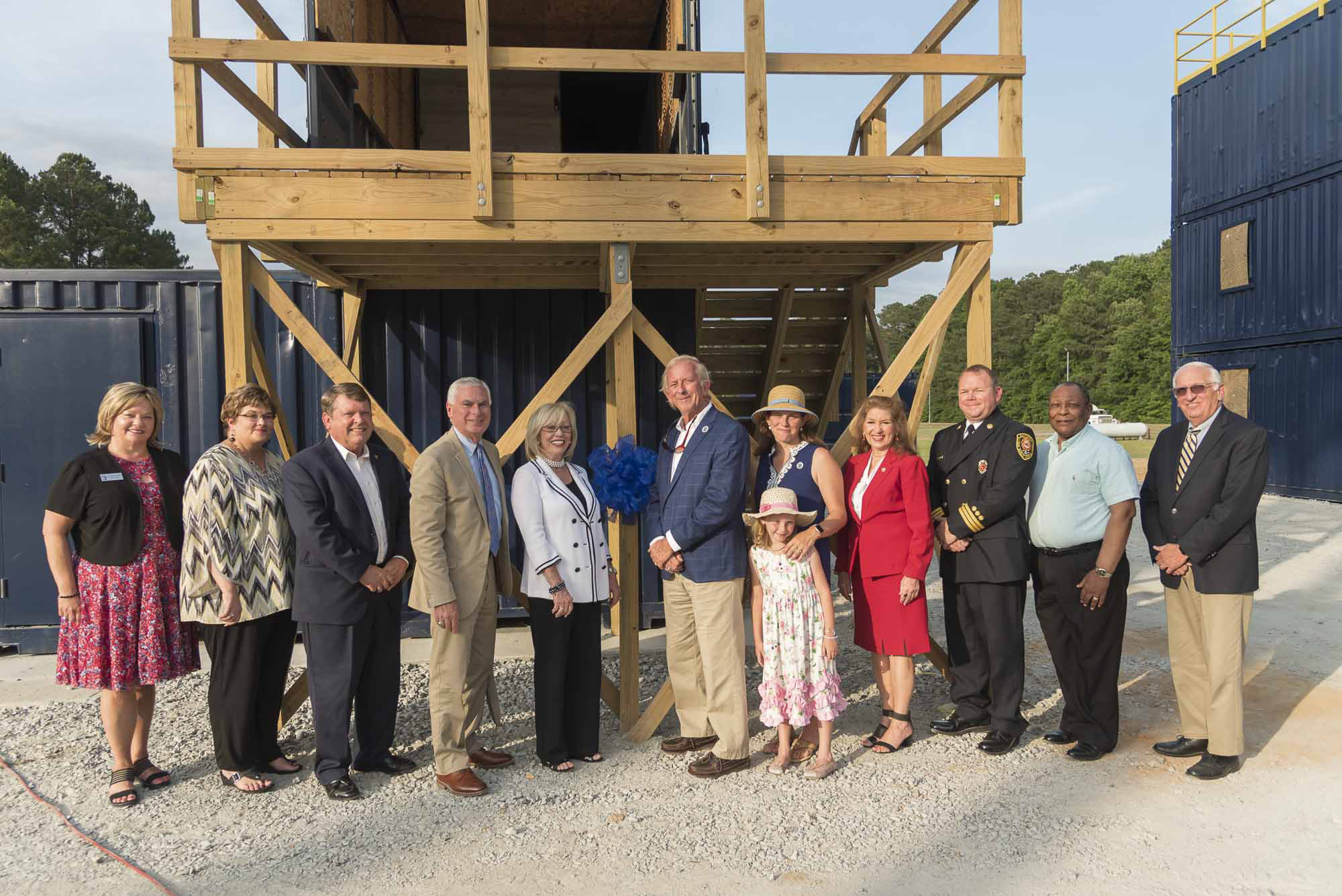 Pictured from left are Dr. Twyla Wells, executive director of the JCC Foundation; Dee Dee Daughtry, JCC vice president of instruction; N.C. Rep. Larry Strickland; Dr. David Johnson, JCC president; Lyn Austin, chair of JCC Board of Trustees; Donnie Lassiter, Sara Massey and daughter, Emma; N.C. Rep. Donna White; Jeremey Daughtry, division chief of Smithfield Fire Department; Haywood Watson, member JCC Board of Trustees; and John Parrish, member JCC Foundation Board of Directors.