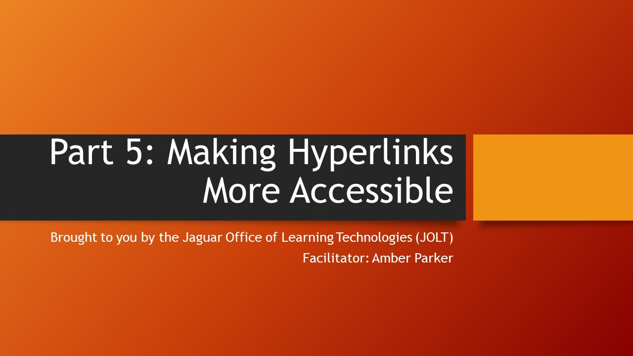 graphic image for making hyperlinks more accessible tutorial