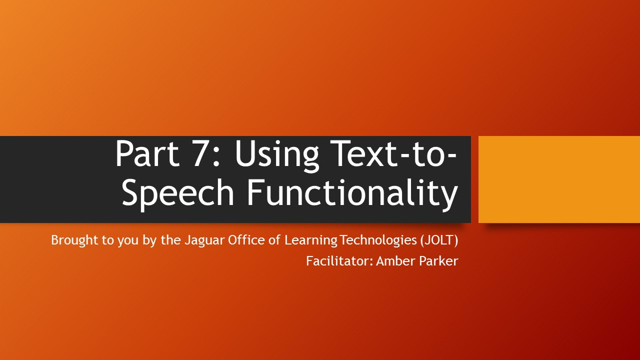 graphic image for using the text to speech tutorial