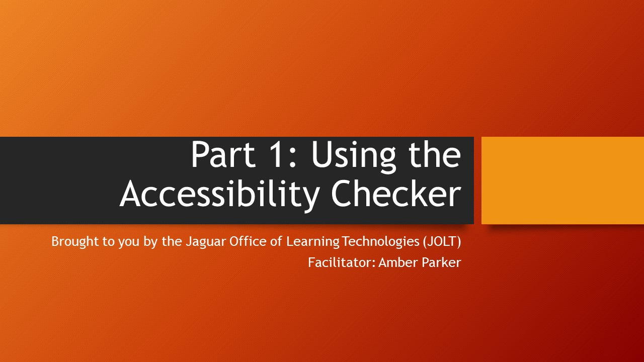 graphic image for using the accessibility checker